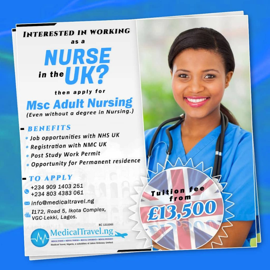 Secure The Future, Apply for Msc Adult Nursing, Today